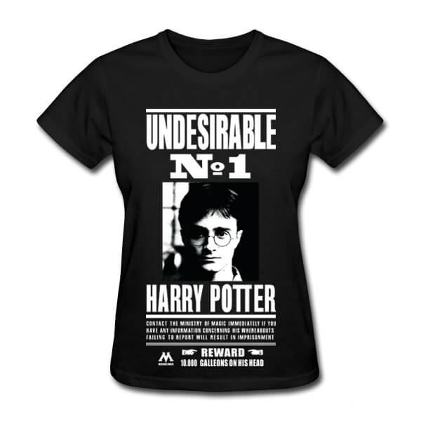 На картинке вариант черный для Футболки женские с Гарри Поттером, вид спереди.