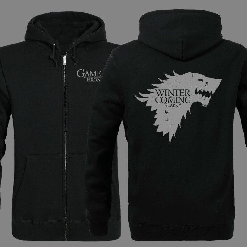 На картинке толстовка «Герб Старков» (Игра престолов), вид спереди и сзади, цвет черный.