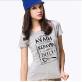 На картинке футболка женская Гарри Поттер (Авада Кедавра), вид спереди, цвет серый.