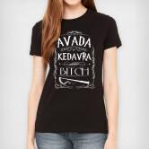 На картинке футболка женская Гарри Поттер (Авада Кедавра), вид спереди, цвет черный.