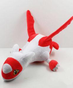 На картинке мягкая игрушка покемон Латиас (latias), общий вид.
