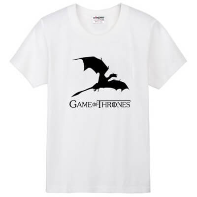 На картинке футболка «Дракон» (Игра престолов), вид спереди, цвет белый.
