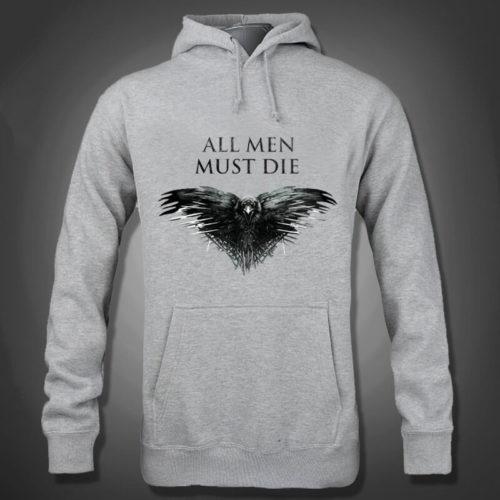 На картинке толстовка «All men must die» (Игра престолов), вид спереди.
