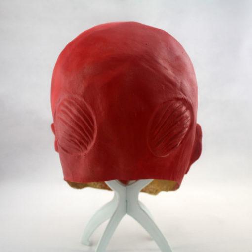 На картинке маска титана из аниме «Атака титанов», вид сзади.