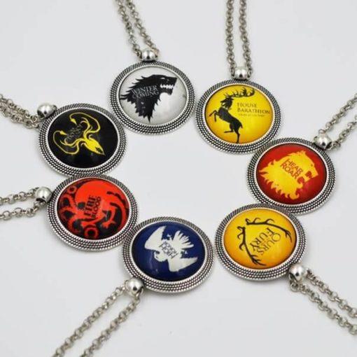 На картинке кулон «Гербы домов Вестероса» (Игра престолов), общий вид, все варианты.