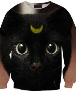 На картинке свитшот с кошкой Луной (Сейлормун), вид спереди.