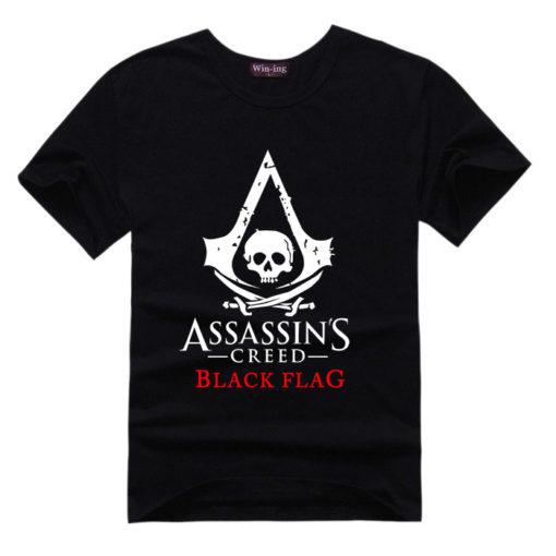 На картинке футболка «Assassin's creed Black flag» (Ассасин крид), вид спереди, цвет черный.