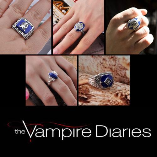 На картинке кольца «Дневники вампира» (5 вариантов).