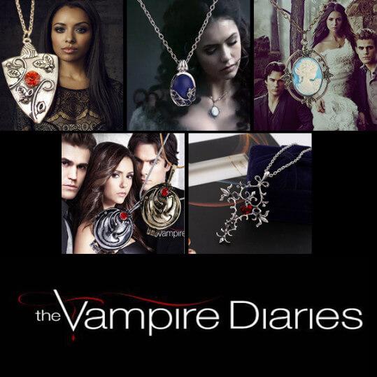 На картинке кулоны «Дневники вампира» (6 вариантов), вид спереди.