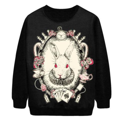 На картинке свитшот с кроликом из «Алисы в стране чудес» (Дисней), вид спереди.