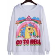 Свитшот с единорогом «Go to hell» фото