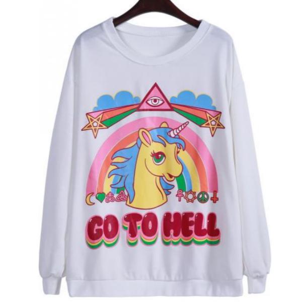 На картинке свитшот с единорогом «Go to hell», вид спереди, цвет белый.