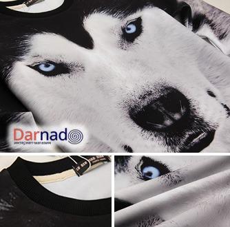 На картинке свитшот с собакой Хаски, детали.