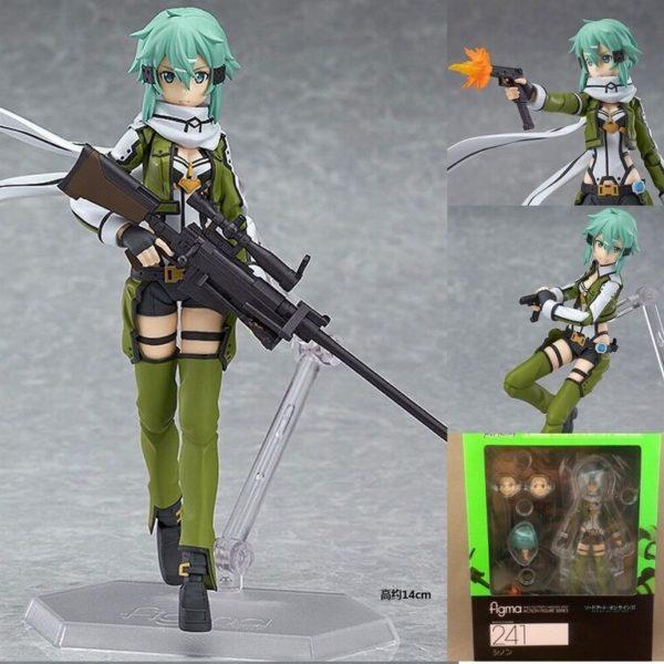 На картинке фигурка Синон подвижная (Sword Art Online), вид спереди в разных позах и упаковка.