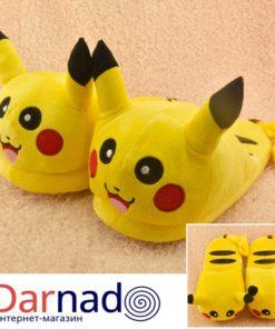На картинке тапочки «Пикачу» (Покемоны), общий вид.