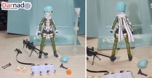 На картинке фигурка Синон подвижная (Sword Art Online), вид спереди и сзади.