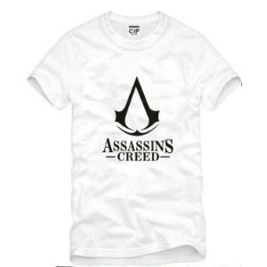 На картинке футболка «Ассасин крид» (Assassins creed), вид спереди, цвет белый.