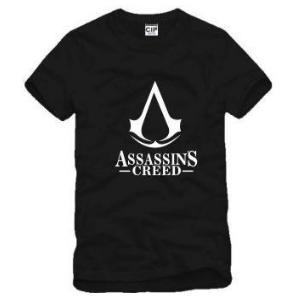 На картинке футболка «Ассасин крид» (Assassins creed), вид спереди, цвет черный.