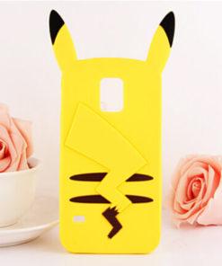 На картинке чехол «Пикачу» на Samsung Galaxy S5 (Покемоны), вид сзади.