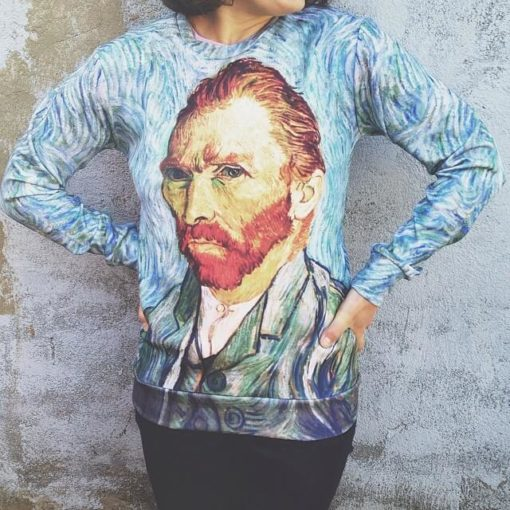 На картинке свитшот Ван Гог (2 варианта), вид спереди, вариант «Автопортрет».