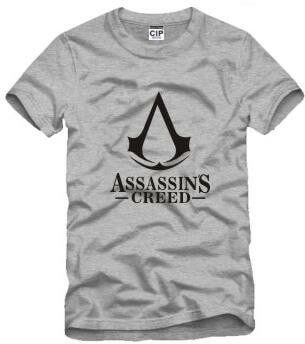 На картинке футболка «Ассасин крид» (Assassins creed), вид спереди, цвет серый.