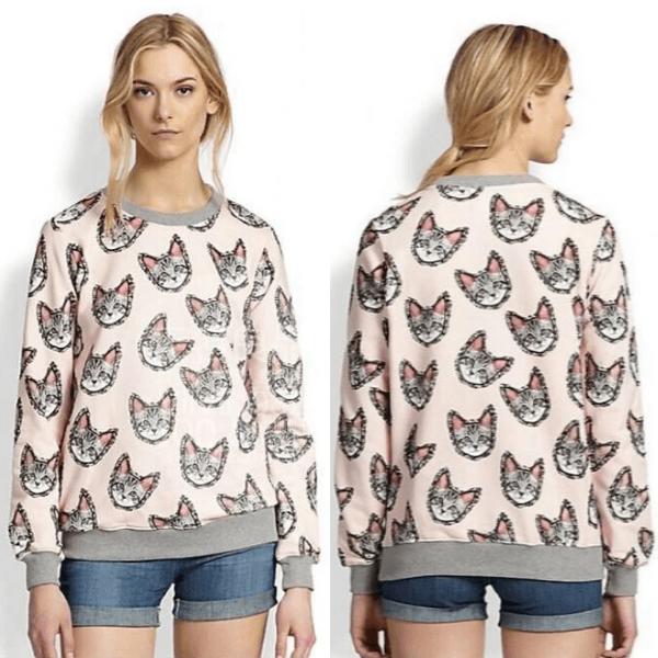 На картинке свитшот с кошкой, вид спереди и сзади, цвет розовый.