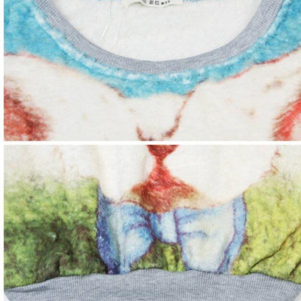 На картинке кофта с кроликом из «Алисы в стране чудес» (Дисней), детали, цвет голубой.