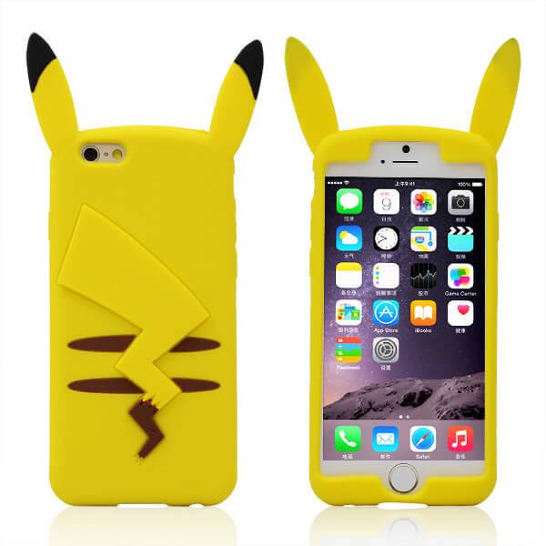 На картинке чехол «Пикачу» на айфон 4-4S-5-5S-6-6+ (Покемоны), вид спереди и сзади.