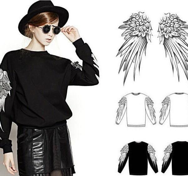На картинке свитшот с крыльями (4 варианта), вид спереди и сзади, цвет черный.