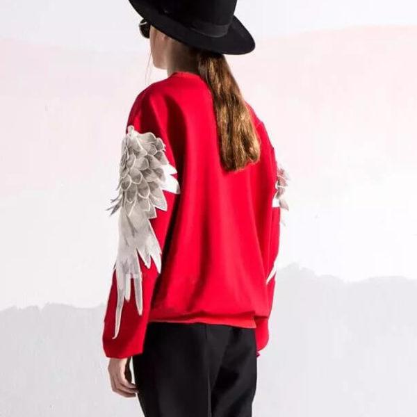 На картинке свитшот с крыльями (4 варианта), вид сзади, цвет красный.