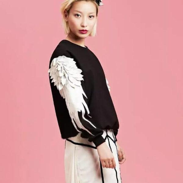 На картинке свитшот с крыльями (4 варианта), вид сбоку, цвет черный.