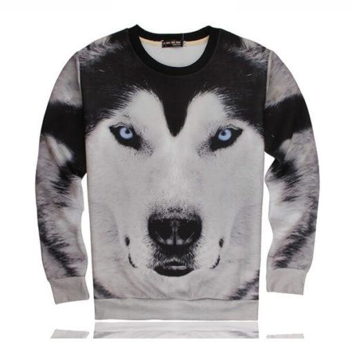 На картинке свитшот с собакой Хаски, вид спереди.