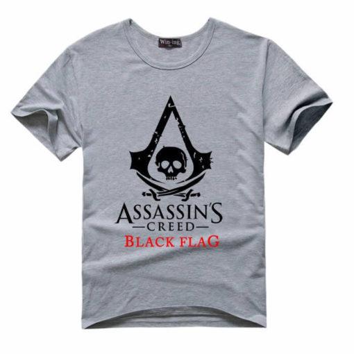 На картинке футболка «Assassin's creed Black flag» (Ассасин крид), вид спереди, цвет серый.