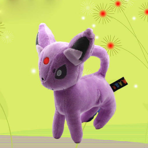 На картинке мягкая игрушка покемон Эспеон (Espeon), общий вид, 18 см.