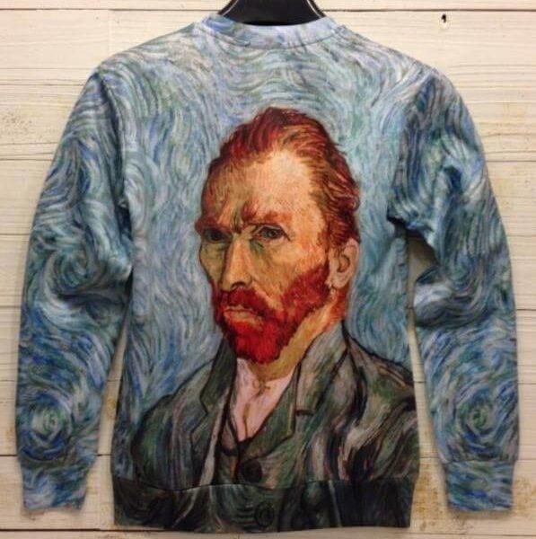 На картинке свитшот Ван Гог (2 варианта), вид сзади, вариант «Автопортрет».