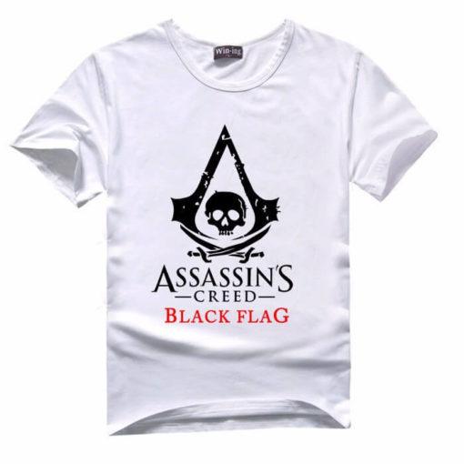На картинке футболка «Assassin's creed Black flag» (Ассасин крид), вид спереди, цвет белый.