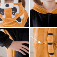 На картинке пижама-кигуруми «Енот», детали.