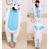 На картинке пижама-кигуруми «Единорог» голубой, вид спереди и сзади.
