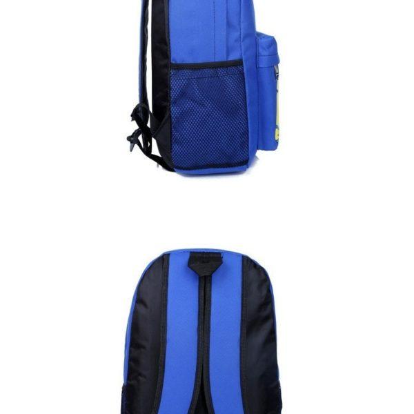 На картинке рюкзак с миньонами (Гадкий Я), вид сбоку и сзади, цвет синий.