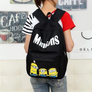 На картинке рюкзак с миньонами (Гадкий Я), вид спереди, цвет черный.