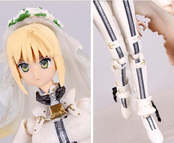 На картинке фигурка Fate Zero Сейбер в свадебном платье (подвижная), детали крупным планом.