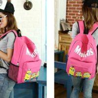 На картинке рюкзак с миньонами (Гадкий Я), общий вид, цвет розовый.
