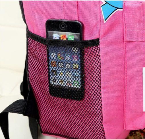 На картинке портфель с миньонами (Гадкий Я), детали, цвет розовый.