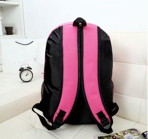 На картинке портфель с миньонами (Гадкий Я), вид сзади, цвет розовый.