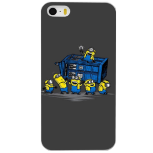 На картинке чехол «Доктор Кто и Минионы» на айфон 4-4S-5-5S-6-6+, вид сзади.