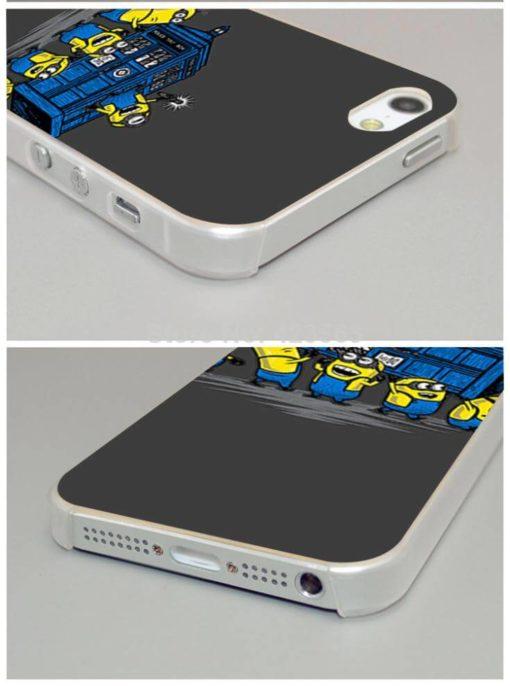 На картинке чехол «Доктор Кто и Минионы» на айфон 4-4S-5-5S-6-6+, детали.