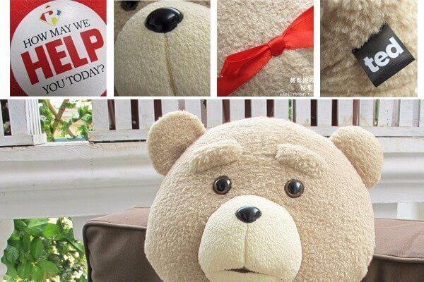 На картинке игрушка медведь Тед из фильма «Третий лишний», детали.