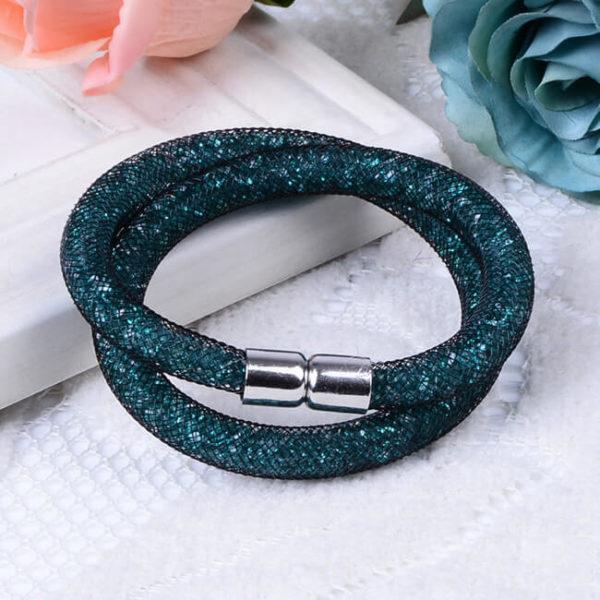 На картинке браслеты в стиле Stardust Swarovski (Сваровски) 13 вариантов, цвет зеленый.