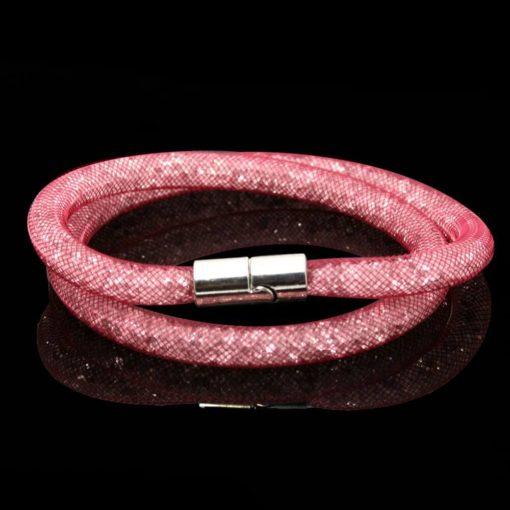 На картинке браслеты в стиле Stardust Swarovski (Сваровски) 13 вариантов, цвет розовый.