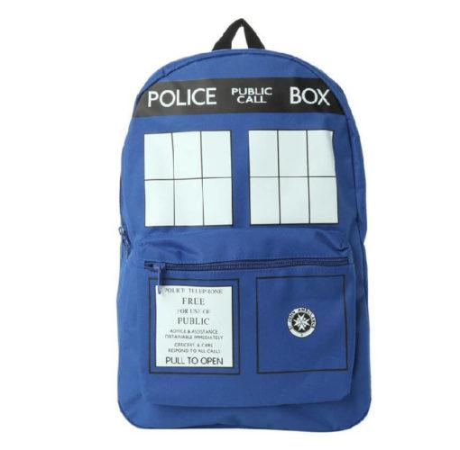 На картинке рюкзак «Доктор Кто», вид спереди.